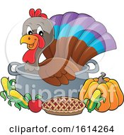 Clipart Of A Turkey Bird In A Pot With Foods Royalty Free Vector Illustration