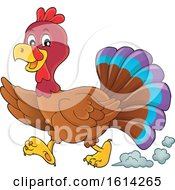 Clipart Of A Running Turkey Bird Royalty Free Vector Illustration by visekart