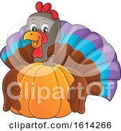 Clipart Of A Turkey Bird Hugging A Pumpkin Royalty Free Vector Illustration by visekart