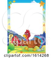Clipart Of A Border Of A Running Turkey Bird Through A Barnyard Royalty Free Vector Illustration