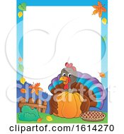 Clipart Of A Border Of A Turkey Bird Hugging A Pumpkin Royalty Free Vector Illustration by visekart