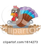 Clipart Of A Turkey Bird In A Pot With A Blank Banner Royalty Free Vector Illustration
