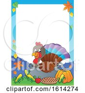 Clipart Of A Border Of A Turkey Bird In A Pot With Foods Royalty Free Vector Illustration