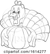 Lineart Turkey Bird Hugging A Pumpkin
