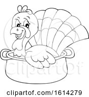 Clipart Of A Lineart Turkey Bird In A Pot Royalty Free Vector Illustration