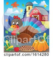 Clipart Of A Turkey Bird In A Pot With Foods In A Barnyard Royalty Free Vector Illustration