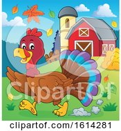 Clipart Of A Running Turkey Bird Through A Barnyard Royalty Free Vector Illustration
