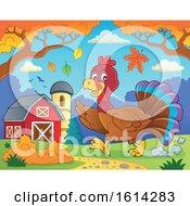 Running Turkey Bird Through A Barnyard