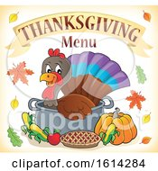Clipart Of A Turkey Bird In A Pot Under Thanksgiving Menu Text Royalty Free Vector Illustration