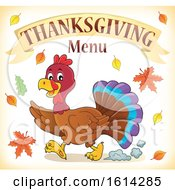 Clipart Of A Running Turkey Bird Under Thanksgiving Menu Text Royalty Free Vector Illustration