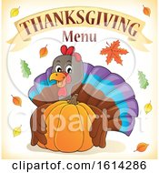 Clipart Of A Turkey Bird Hugging A Pumpkin Under Thanksgiving Menu Text Royalty Free Vector Illustration
