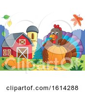 Clipart Of A Turkey Bird Hugging A Pumpkin In A Barnyard Royalty Free Vector Illustration