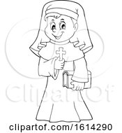 Lineart Happy Nun Holding A Cross