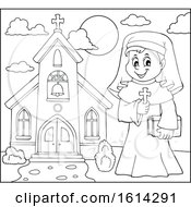 Lineart Happy Nun Holding A Cross Outside A Church