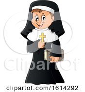 Clipart Of A Happy Nun Holding A Cross Royalty Free Vector Illustration by visekart