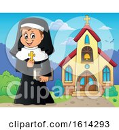 Clipart Of A Happy Nun Holding A Cross Outside A Church Royalty Free Vector Illustration by visekart