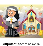 Clipart Of A Happy Nun Holding A Cross Outside An Autumn Church Royalty Free Vector Illustration by visekart
