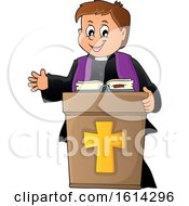 Clipart Of A Happy Priest At A Podium Royalty Free Vector Illustration