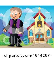 Clipart Of A Happy Priest Outside A Church Royalty Free Vector Illustration by visekart