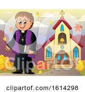 Clipart Of A Happy Priest Outside An Autumn Church Royalty Free Vector Illustration by visekart