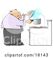 Man Trying To Cook Food In A Pot On A Stove And Watching As The Pot Boils Over