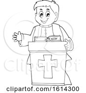 Clipart Of A Black And White Happy Priest At A Podium Royalty Free Vector Illustration