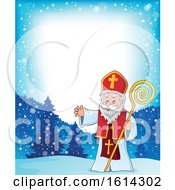 Snowy Border With Saint Nicholas Waving