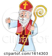 Clipart Of Saint Nicholas Waving Royalty Free Vector Illustration