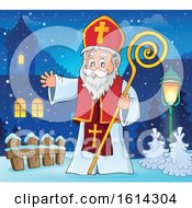 Saint Nicholas Waving In A Village