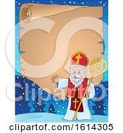 Poster, Art Print Of Saint Nicholas Waving On A Scroll Border