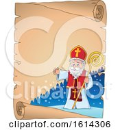 Saint Nicholas Waving On A Scroll Border