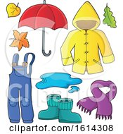 Clipart Of A Rain Coat And Gear Royalty Free Vector Illustration by visekart
