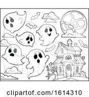 Clipart Of A Haunted House And Ghosts Royalty Free Vector Illustration