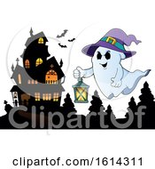 Clipart Of A Haunted House And Ghost Royalty Free Vector Illustration