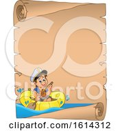 Clipart Of A Boy Rowing A Boat On A Parchment Scroll Royalty Free Vector Illustration