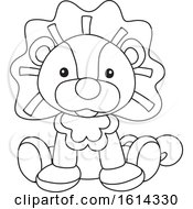 Clipart Of A Lineart Lion Toy Royalty Free Vector Illustration