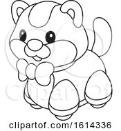 Clipart Of A Lineart Kitten Toy Royalty Free Vector Illustration