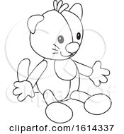 Clipart Of A Lineart Cat Toy Royalty Free Vector Illustration