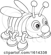 Clipart Of A Lineart Bee Toy Royalty Free Vector Illustration