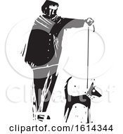 Clipart Of A Man Walking A Dog Black And White Royalty Free Vector Illustration