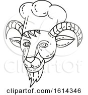 Clipart Of A Mountain Goat Chef Head In Black And White Royalty Free Vector Illustration