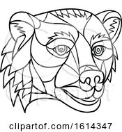 Clipart Of A Black And White Low Polygon Grizzly Bear Mascot Head Royalty Free Vector Illustration