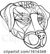 Black And White Low Polygon Labrador Retriever Dog Mascot Head