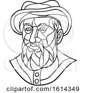 Clipart Of A Low Polygon Black And White Spanish Or Portuguese Explorer Or Naval Officer Ferdinand Magellan Wearing A Hat Royalty Free Vector Illustration