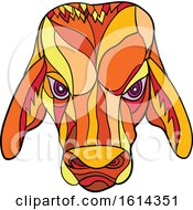Clipart Of A Low Polygon Brahma Bull Mascot Head Royalty Free Vector Illustration