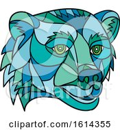 Clipart Of A Low Polygon Grizzly Bear Mascot Head Royalty Free Vector Illustration