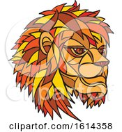 Clipart Of A Low Polygon Male Lion Mascot Head Royalty Free Vector Illustration