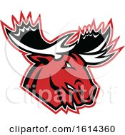 Clipart Of A Tough Red Moose Or Elk Mascot Royalty Free Vector Illustration by patrimonio