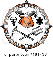 Clipart Of A Moose Mascot Inside Compass Land Sea And Air Emergency Rescue Design Royalty Free Vector Illustration