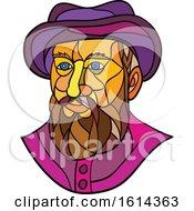 Low Polygon Spanish Or Portuguese Explorer Or Naval Officer Ferdinand Magellan Wearing A Hat